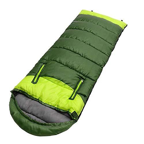 Sleeping bag Voyage en Plein air Chaud Adulte épais, Doux Sommeil, Portable Ultra-Mince de Camping de l'épissage Sacs de Couchage Multi-Fonctionnelle Compression, nom de Couleur: Vert (Color : Green)
