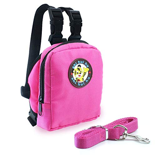 Guardians Pet Backpack Small Dog Self Mini Carrier Back Pack Pocket Saddle Bags Puppy Bag with Training Lead Leash (Pink)