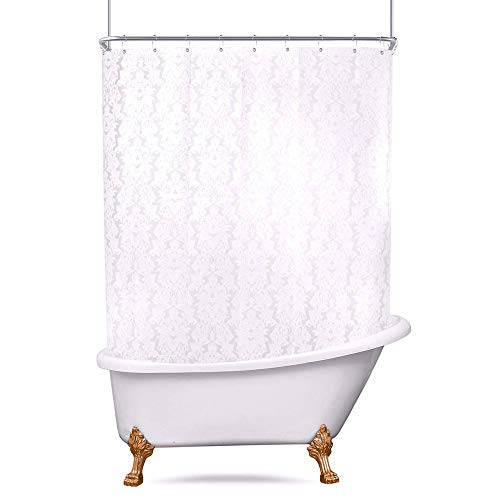Riyidecor Damask All Around Shower Curtain Clawfoot Tub...