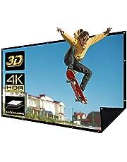 Projectiescherm van 150 inch, 16 en 9 projectiescherm, zwarte achterkant tegen lichtdoorlatendheid, 4K HD, 3D-filmscherm, thuisbioscoop, wandmontage, 16 gaten, 1 touw, 20 haken, 1 draagbare tas