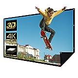 NIERBO Schermo di Proiezione 150' Schermi di Proiezione Portatile 16:9 HD 4K 3D Pieghevole Lavabile Sfondo Nero per Home Cinema Riunione Aula ed Aria Aperta
