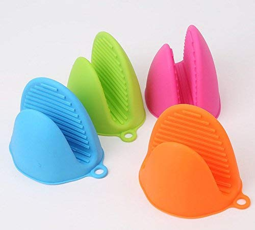 BQ-SHOP Silicone Pot Holder Oven Mitt, Cooking Finger Protector Pinch Grips - Heat Resistant, 4 Pairs (Blue,Green,Pink,Orange)