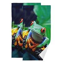 FengJu タオル 2枚セット バスタオル 大判 厚手 マイクロファイバー バスタオル 肌触り抜群 ふわふわ 家庭用 ホテル スポーツ 快適 オオカミ Frog カエル 蛙