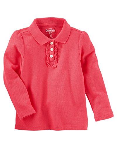 Osh Kosh Girls' Toddler Long-Sleeve Uniform Polo Shirt, Pink, 5T