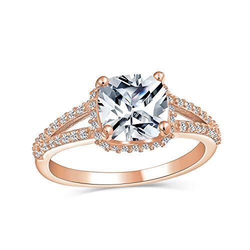 3CT cuadrado cojín corte AAA CZ 925 plata esterlina oro rosa chapado anillo de compromiso cúbica Zirconia split pave Shank band