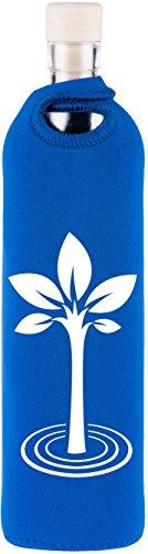Flaska | Botella de Agua de Cristal Reutilizable Sin BPA | Fabricada en Italia (UE) con Vidrio de 1ª Calidad y Mayor Grosor | Incluye Funda Protectora de Neopreno | Árbol de la Vida | 750ml