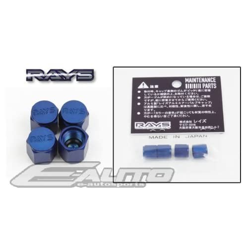 RAYS Volk Racing Volk Wheel Rim Valve Stem Cap Blue Color Universal FIT Gram Lights,