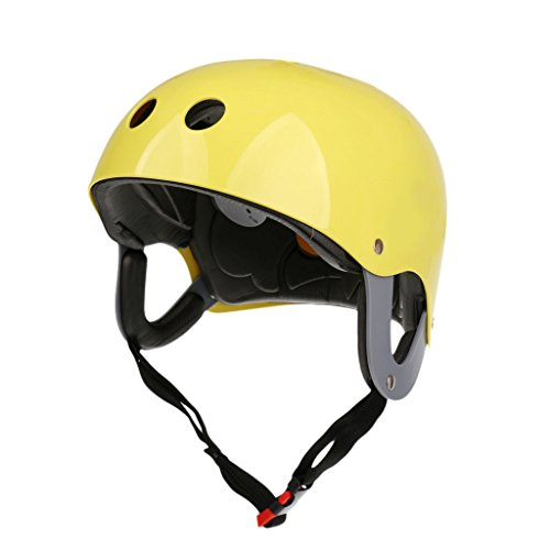 MonkeyJack Pro Safety Adjustable Helmet CE Approved for Whitewater Waterskiing Sports Kayaking Sailing Rafting Boating Head Circumference 22.4''-24.4'' - Yellow