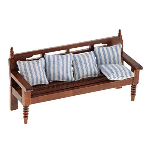 Backbayia 1:12 Tumbona con 5 cojines de muebles para casa de Barbia