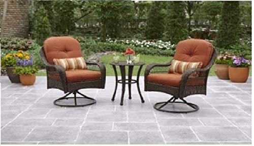 Better Homes and Gardens Water, Stain and Mildew Resistant Azalea Ridge 3-Piece Outdoor Bistro Set, Seats 2 Burnt Orange