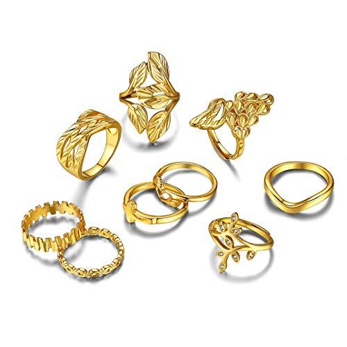 GoldChic Jewelry Set Di Anelli Punk Vintage In Stile Boho Da 9 Pezzi Per Donna, Set Di Anelli Per Articolazione Della Boemia, Set Di Anelli Per Dito Midi Per Donne Ragazze