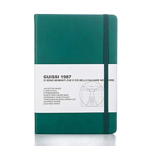 A5 Agenda Notebook Puntinato Journal Quaderno Taccuino Diario di Viaggio Copertina Rigida Pocket con Tasca Interna Segnalibro Chiusura a Elastico 80gsm 144 Pagine