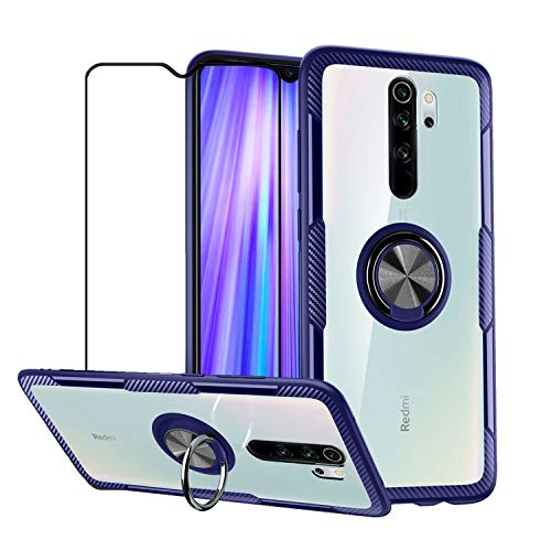 mvced Funda Compatible para Xiaomi Redmi Note 8 Pro Case con 360° Giratorio Metal Anillo, Slim Transparente Carcasa Bumper,Azul