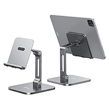 Yoobao Tablet Stand Adjustable iPad Stand Mout Foldable iPad Phone Holder Aluminum Alloy iPhone Stand for Desk/FaceTime/Kitchen iPad Accessories Fit 4-13   iPad Pro 12.9-Gray-1 Pack