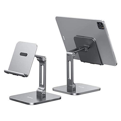 Yoobao Tablet Stand Multi-Angle Tablet Holder Desktop iPad Stand Adjustable & Foldable Aluminum iPad Holder for 4-13'' iPad Pro Air Mini Kindle iPhone 12 Pro 11 XR Xs Max & More-Gray- 1 Pack