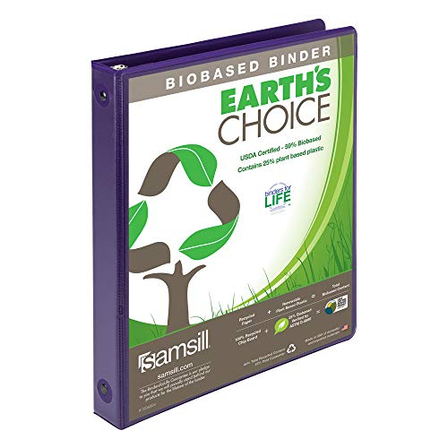 Samsill 17338 Earth's Choice Biobased 3 Ring View Binders, 1 Inch Round Ring, Up to 25% Plant Based Plastic, USDA Certified Biobased, Customizable Cover, Purple