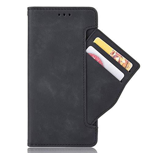 GOGME Hülle für Samsung Galaxy Z Fold2 5G, Handyhülle Samsung Galaxy Z Fold2 5G Flip Hülle Brieftasche Schutzhülle, Premium Leder mit Ständer Funktion und Kartenfach und Magnetic Snap Cover, Schwarz