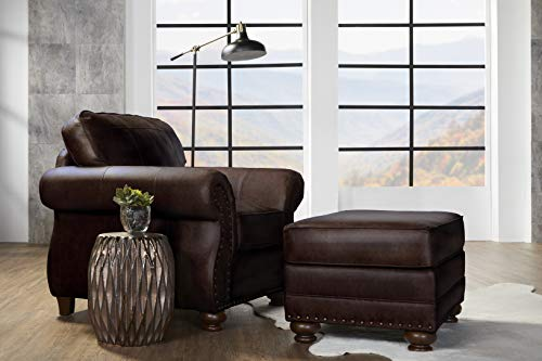 Roundhill Furniture Leinster Faux Leather Upholstered Nailhead Chair and...