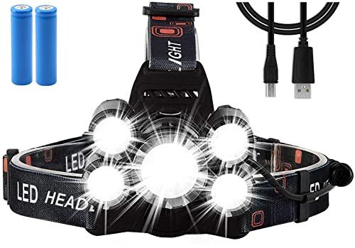 Frontal LED Recargable Linternas, 4 Modos de Luz con Flash,200 metros iluminados,IPX4 Impermeable, Zoom in/out, para Correr de Noche / Acampar / Expedición /Reparación de Automóviles