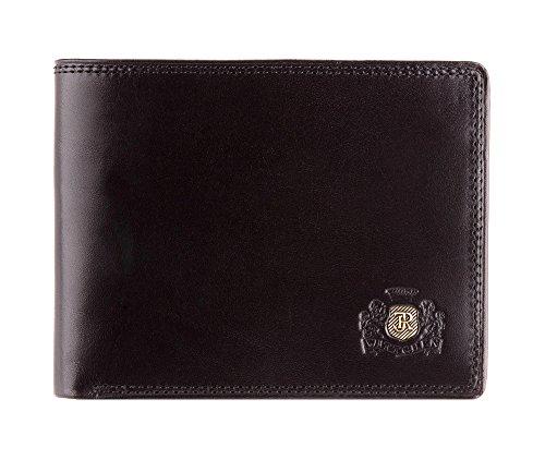 WITTCHEN Geldbörse aus Rindsleder | Kollektion: Da Vinci | verschließt mit Druckknopf | aus hochwertigen Materialien | elegant und klassisch | Schwarz | 12x9.5 cm