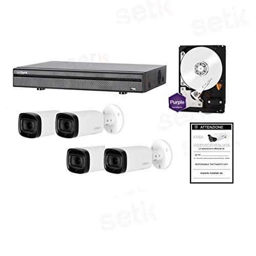 HDCVI Kit Videosorveglianza 4 Telecamere Infrarossi 1080P + DVR Tribrido + 1TB HD - Serie Home - Setik