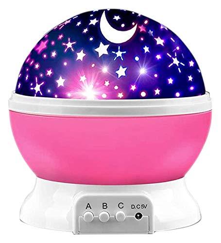 QYBAMZLD Proyector de Estrellas LED proyector de Estrellas luz de la Noche forchildren proyector de la lámpara for el Dormitorio de la diversión for niños y niñas, Rosa