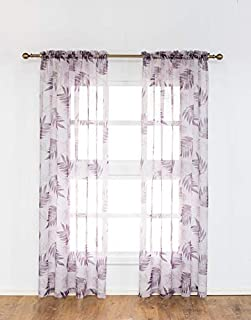 Anjee Sheer Curtains 84 inches Long Home Décor Leaf...