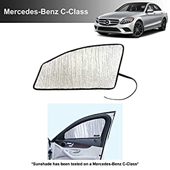 Side Window Front Seat Reflective Sunshade Custom Fit for 2015 2016 2017 2018 2019 2020 2021 Mercedes Benz C Class AMG C63 Base AMG C63 S C300 4Matic Sedan UV Protection Accessories  2pcs