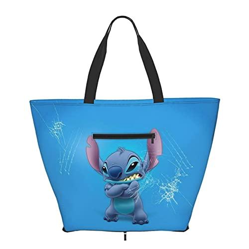 Bolso de mano de dibujos animados anime Lilo Stitch con asa de hombro estilo simplicidad gran capacidad bolsa de compras gimnasio playa viajes diario unisex plegable