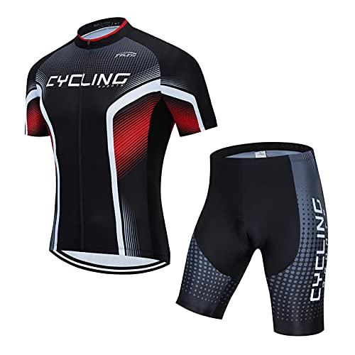 YONGKE Camisetas de Ciclismo para Hombre, Camiseta Corta Traje Culotte con Almohadilla De Gel Deportivo de Ciclismo Jerseys de Ciclismo Ropa de Ciclismo