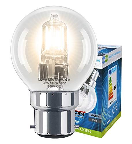 Long Life Lamp Company Mini balle de Golf B22 28 W ampoules halogènes basse consommation-Lot de 10