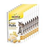 GimCat Rollis, comprimidos de queso - Snack para gatos rico en vitaminas con auténtico queso duro - Sin azúcar añadido y sin cereales - Pack de 8 unidades (8 x 40 g)