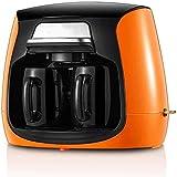 Cafetera Máquina, goteo doble filtro Copa mini pequeño café americano y té máquina de doble uso con 2 tazas de cerámica adecuados for el hogar y Offic WTZ012