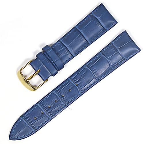 LIANYG Correa De Reloj Banda de Reloj Correas de Cuero Genuino Relojes 12 mm 18 mm 20 mm 22mm de Reloj Accesorios 493 (Band Color : Blue Gold, Band Width : 20mm)