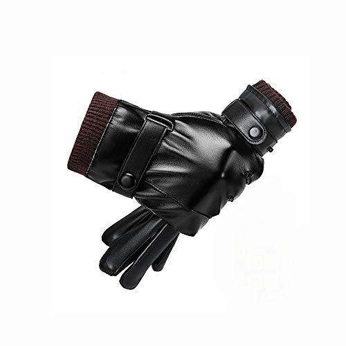 LHTCZZB Los guantes de cuero for los hombres del invierno a caballo, además de terciopelo del espesamiento for mantener el calor en invierno Montar a prueba de frío A prueba de viento de la motociclet