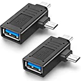 URWOOW Multifunction 2-in-1 USB 3.0 to Micro USB and Type C Adapter USB OTG Adapter Converter (2 Pack)
