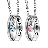 MJartoria Matching Necklaces for Couples, His and Hers Engraved Rhinestone Ring Pendant Set Gifts for Boyfriend Girlfriend(Silver-Her Weirdo His Crazy)