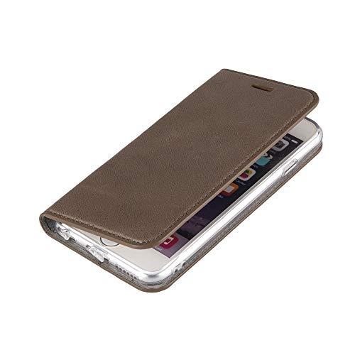 Wormcase Echt Ledertasche - für Apple iPhone 6S & iPhone 6 - Handytasche mit Kartenfach – Magnetverschluss - Schlamm Grau – Leder Hülle kompatibel mit iPhone 6 & 6S