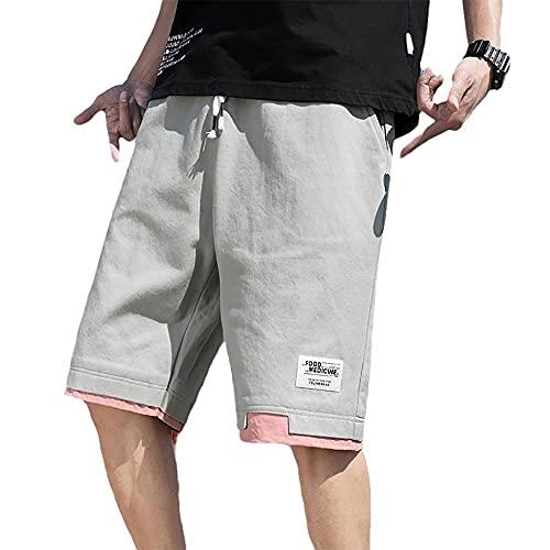 BLACK ELL Pantalones cortos de trabajo, de verano, básicos, para hombre, multibolsillos, tallas grandes, para el tiempo libre, cinco puntos, gris claro, C_XXL