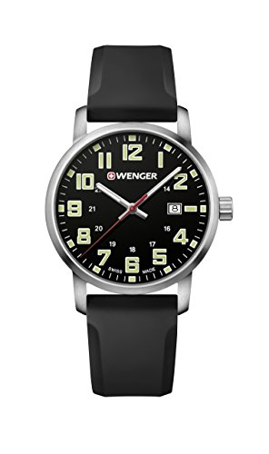 Wenger Men's Sport Stainless Steel Swiss-Quartz Watch with Silicone Strap, Black, 22 (Model: 01.1641.110)