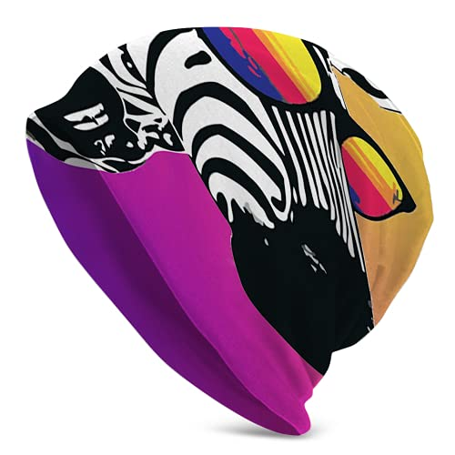 Fodmua Zebra con gafas de sol sombrero de mujer Beanie sombrero de invierno para mujer bufanda cabeza súper suave