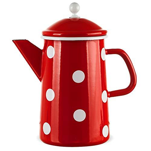 matches21 Große Email Kanne Kaffeekanne rot gepunktet nostalgisches Emaille Geschirr je 23x12 cm / 1600 ml