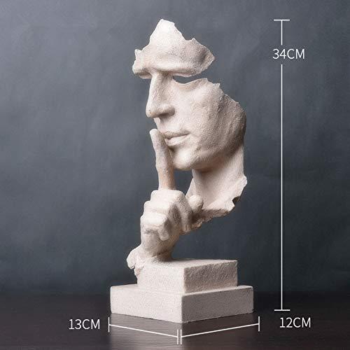 RYDX Moderno Simple Esculturas Pensador Estatua,El Silencio es Oro Estatuas Escritorio Decoración Figura para Oficina Inicio-C