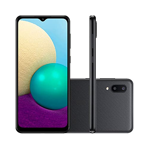 "Smartphone Samsung Galaxy A02, Camera Dupla Traseira 13MP + 2MP, Selfie de 5MP, Tela Infinita de 6.5"", 32GB, 2GB RAM, Quad Core, Bateria de 5000mAh, Dual Chip, Android - Preto"