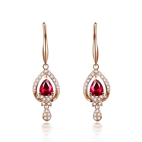 ANAZOZ Pendientes Rubi Mujer,Pendientes Oro Rosa Mujer 18 Kilates Oro Rosa y Rojo Gota de Agua Rubí Rojo 1ct Diamante 0.22ct