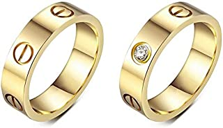 2pcs Yellow gold plated Cute Love ring for Women