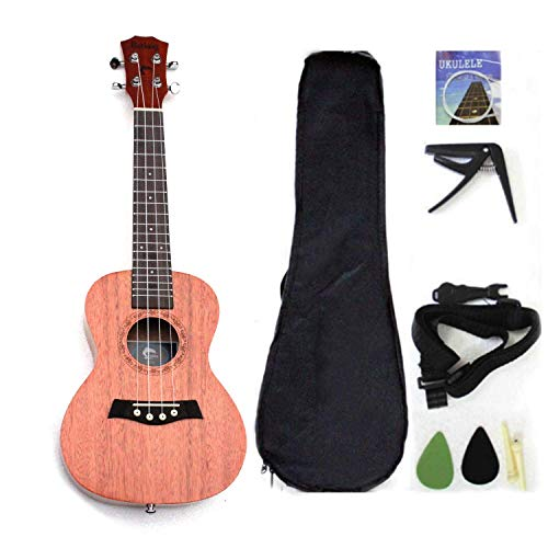 Ukulele da concerto con parte superiore in mogano, 58,4 cm, con accessori per ukulele con custodia, tracolla, corda in nylon, accordatore elettrico, plettri 23 inch
