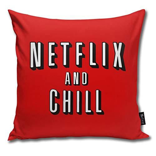Rasyko Netflix And Chill Kissenbezug, dekorativ, für Zuhause, Couch, Bett, Auto, 45,7 x 45,7 cm