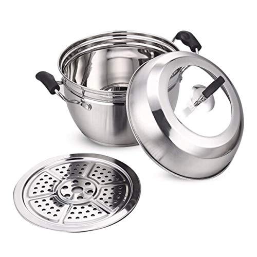 CJTMY Olla de Vapor de Acero Inoxidable for cocinar Sopa y cocinar al Vapor Olla de Vapor con Tapa de Vidrio Templado, Septa al Vapor con Gas, eléctrico, Estufa (Plata) (Size : 20cm (0.93kg))