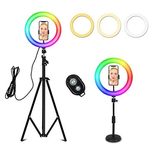 Fullwatt Anillo de luz LED de 26 cm, regulable, mando a distancia por Bluetooth, 10 niveles de brillo con trípode de escritorio, soporte ajustable para trípode, palo selfie para TikTok/YouTube/Makeup